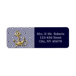 Étiquette Mariage nautique d'ancre de motif de bleu marine