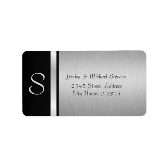 Étiquette Mariage noir argenté moderne élégant de monogramme