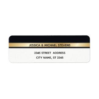 Étiquette Mariage noir chic moderne élégant de blanc et d'or