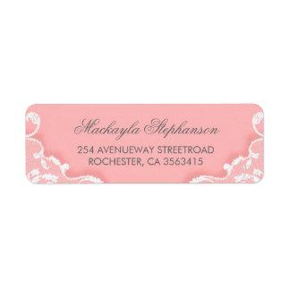 Étiquette Mariage rose et blanc de dentelle