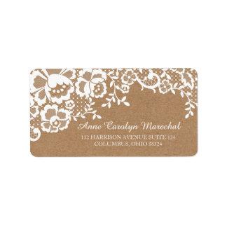 Étiquette Mariage rustique de dentelle de pays