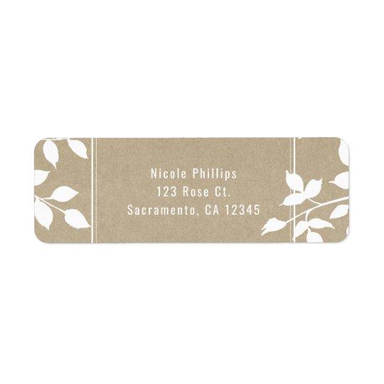 Étiquette Mariage rustique simple de feuille botanique blanc