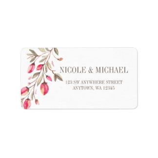 Étiquette Mariage sensible de flourish d'aquarelle de rose