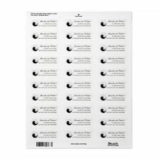 Étiquette MARIAGE STICKERS-LABELS. colombes de b/w YinYang