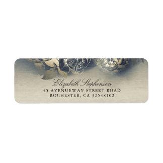 Étiquette Mariage vintage de marine et d'or