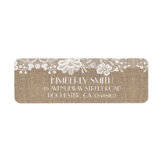 Étiquette Mariage vintage élégant de dentelle et de toile de