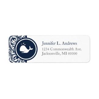 Étiquette Mariages de plage blancs de damassé de bleu marine