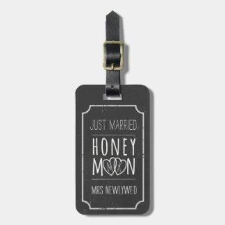 Étiquette mariée de sac de lune de miel de tableau étiquette à bagage