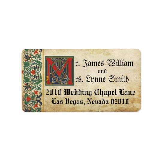 Étiquette médiéval de mariage de manuscrit
