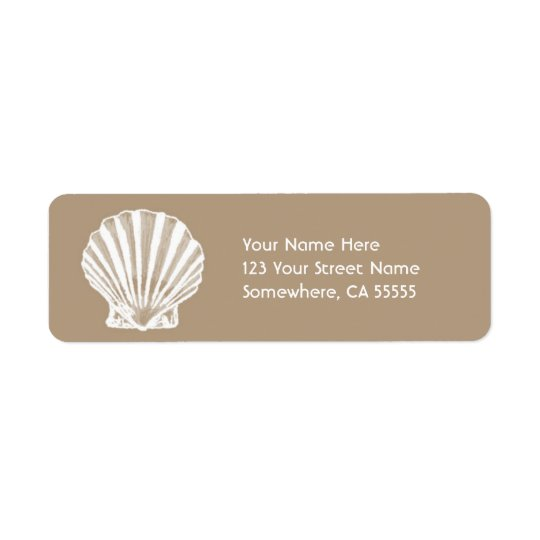 Étiquette Mer Shell de sable de l'adresse de retour