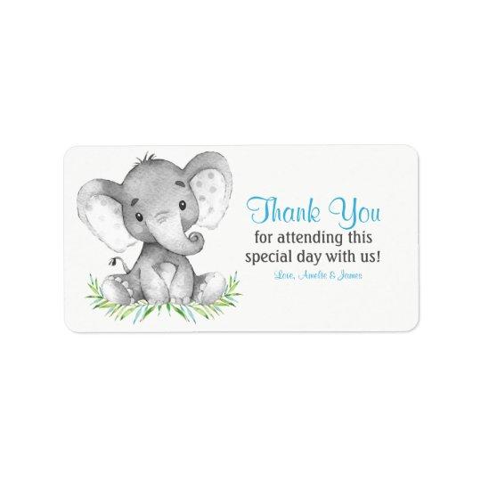 Étiquette Merci de garçon d'éléphant d'aquarelle