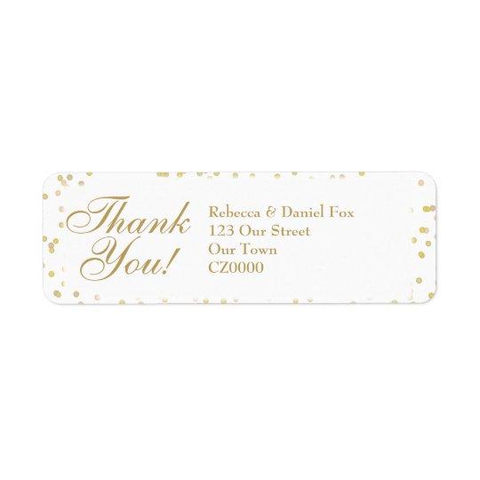 Étiquette Merci de mariage de confettis de la poussière d'or