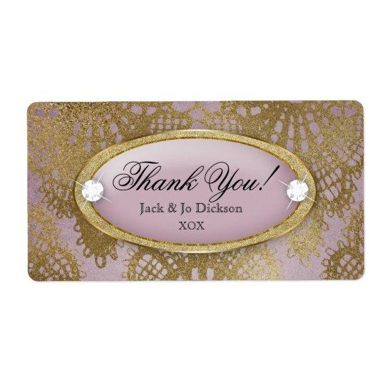 Étiquette Merci mauve de dentelle d'or de mariage Bodacious