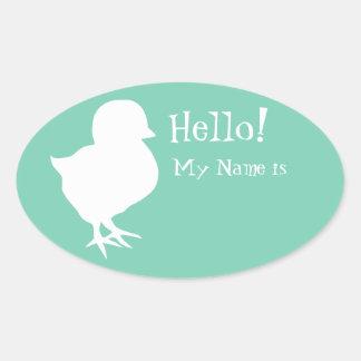 Sticker Ovale Étiquette mignonne de nom de poussin