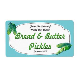 Étiquette Mise en boîte de conserves au vinaigre de pain et