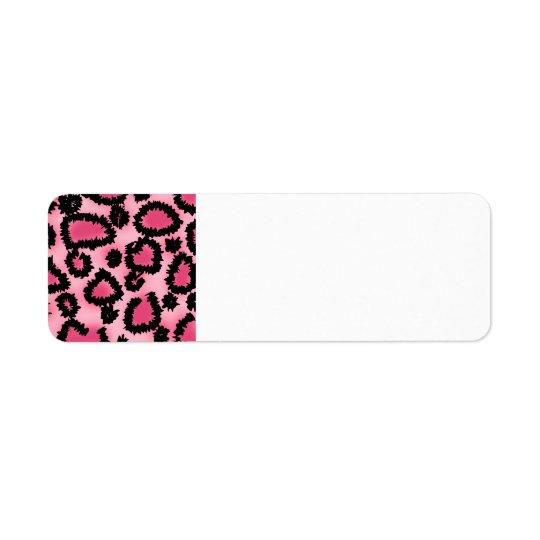 Étiquette Modèle rose et noir d'empreinte de léopard