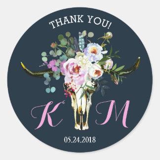 Étiquette moderne floral de mariage de crâne de