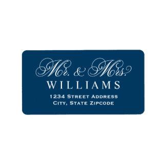 Étiquette Monogram de bleu marine de M. et de Mme Married