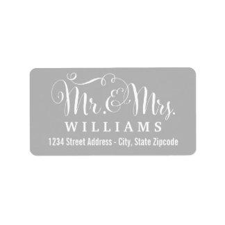 Étiquette Monogram gris de M. et de Mme Married