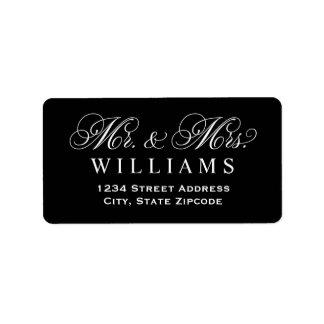 Étiquette Monogram noir de M. et de Mme Married