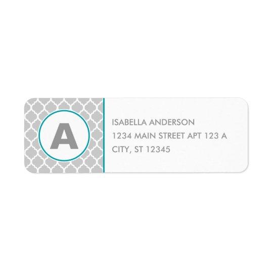 Étiquette Monogramme de Quatrefoil dans gris et bleu