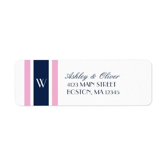 Étiquette Monogramme des rayures | de rose et de bleu marine