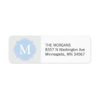 Étiquette Monogramme moderne gris et bleu de coutume de