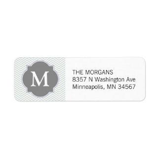 Étiquette Monogramme moderne gris et gris de coutume de