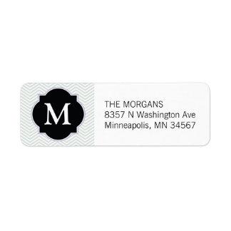 Étiquette Monogramme moderne gris et noir de coutume de