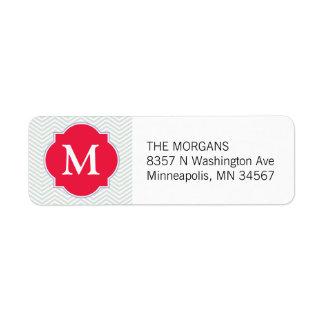 Étiquette Monogramme moderne gris et rouge de coutume de