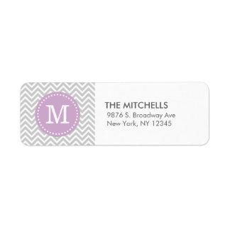 Étiquette Monogramme moderne pourpre gris et lilas de
