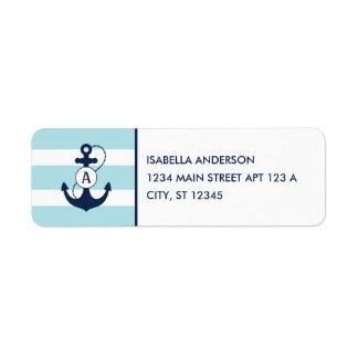 Étiquette Monogramme nautique bleu-clair d'ancre