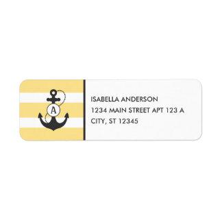 Étiquette Monogramme nautique jaune d'ancre