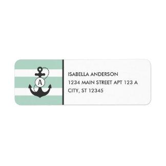 Étiquette Monogramme nautique vert clair d'ancre