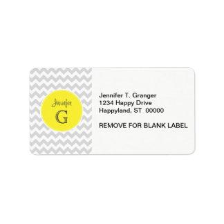 Étiquette Monogramme nommé jaune rond B de Chevron de lt