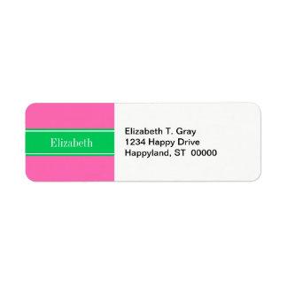 Étiquette Monogramme nommé solide de Rbn de vert vert des