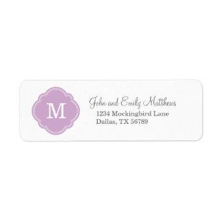 Étiquette Monogramme personnalisé par coutume pourpre lilas