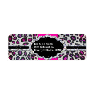 Étiquette Monogramme rose de diamant d'impression de guépard