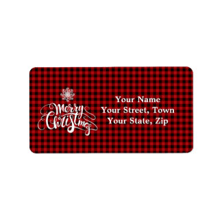 Étiquette Monogramme rouge de flocon de neige de Joyeux Noël