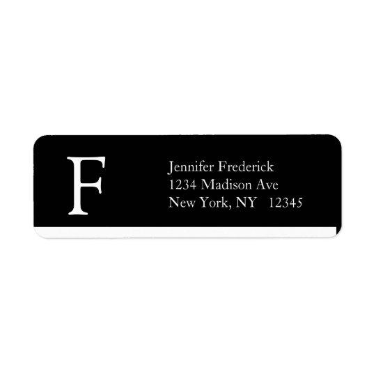 Étiquette Monogramme simple élégant F d'étiquettes de adress
