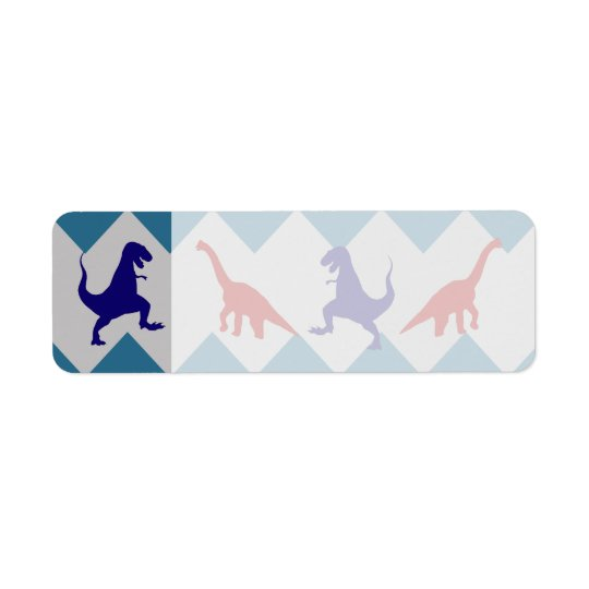 Étiquette Motif bleu rouge de Chevron de dinosaures de garço