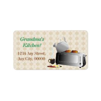 Étiquette Motif de cuisine de petit déjeuner