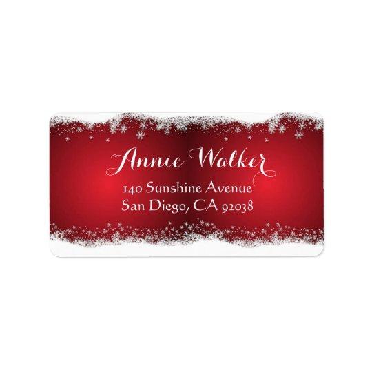 Étiquette Motif de Noël rouge et blanc