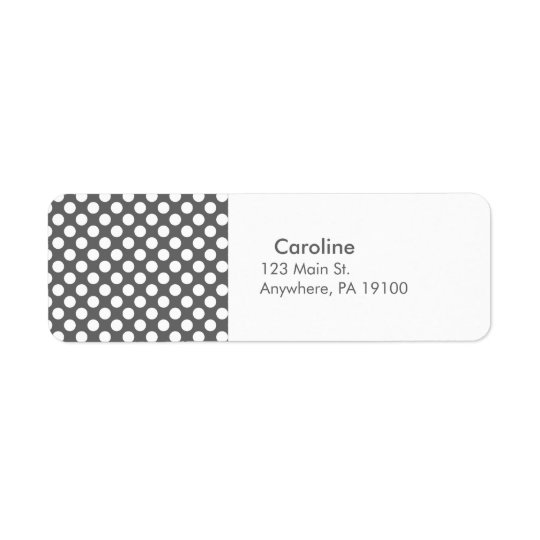 Étiquette Motif de point de polka de blanc gris de charbon