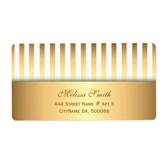 Étiquette Motif élégant de rayures de blanc et d'or