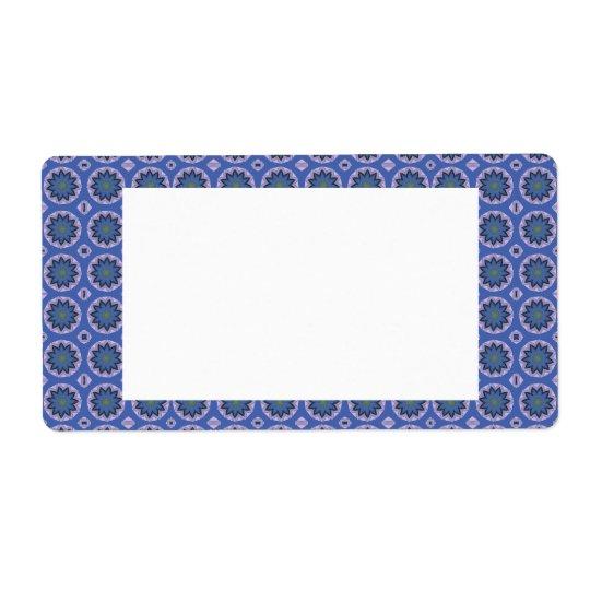Étiquette Motif floral assez bleu