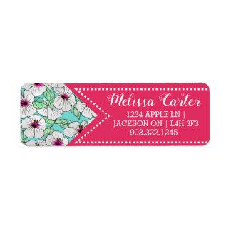 Étiquette Motif floral de ketmie tropicale de rose et