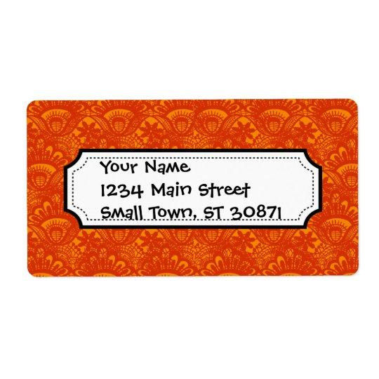 Étiquette Motif Girly de dentelle orange élégante vibrante