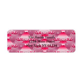 Étiquette Motif rose lunatique de renne de Noël