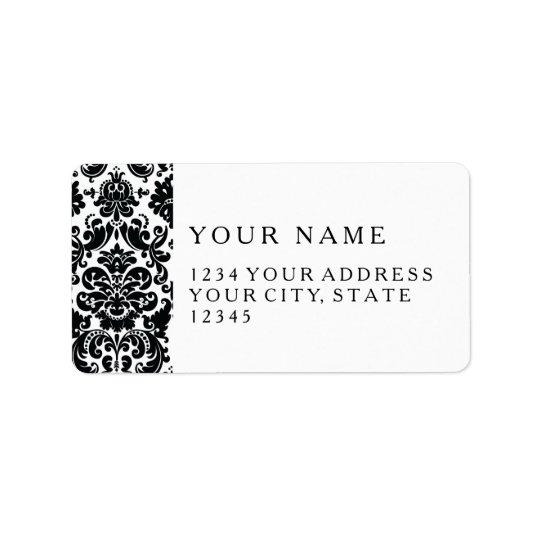 Étiquette Motif vintage blanc noir élégant de damassé